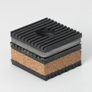 "Cooper B-Line CNNK-16 Transformer Pad, Vibration, Cork, Steel, Ribbed Neoprene, 4"" x 4"""