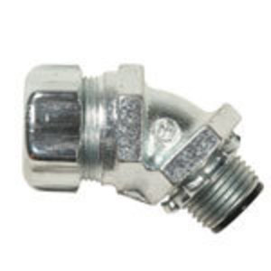 "Thomas & Betts 5343SST Liquidtight Connector, Insulated, 45°, Size, 3/4"", Stainless Steel"