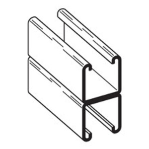 "Cooper B-Line B22A-240GLV Channel - Back To Back, Steel, Pre-Galvanized, 1-5/8"" x 3-1/4"" x 20'"