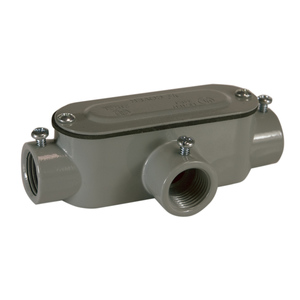 """Topaz T2SSCG Conduit Body With Cover/Gasket, Type: T, Size: 3/4"""", Aluminum/Steel"""