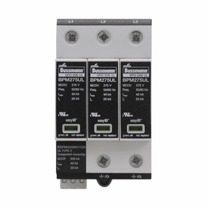 Eaton/Bussmann Series BSPM3480WYGR Surge Protection, Din-Rail Mount, 3P, 3W, 480VAC, Optional Contact