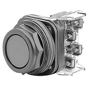 Allen-Bradley 800H-AR2A Push Button, Bootless Flush Head, Black, 1NO/1NC, Contacts