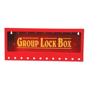 "Brady 105715 Metal Wall Lock Box, Red, 7"" H x 16"" W x 2.25"" D"