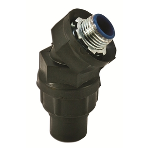"Plasti-Bond PR5346 Liquidtight Connector, 45°, 1-1/2"", PVC Coated Steel"