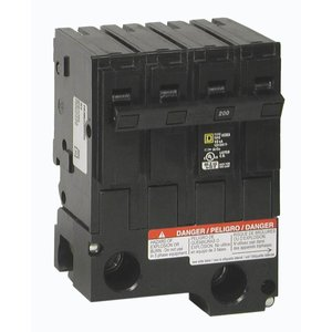 Square D HOML2225 Breaker, Homeline, Sub Feed Lugs, 225A, 2P, Plug On, 4 Spacers