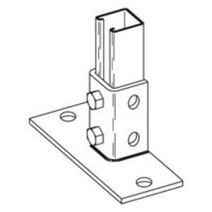 """Cooper B-Line B280FLZN Strut Post Base, Single, 6-1/4"""" x 3"""" x 3-1/2"""", Steel/Zinc Plated"""