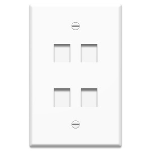 ON-Q WP3304-WH Oversized Wall Plate, 1-Gang, 4-Port, White