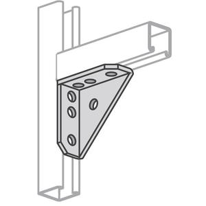 "Power-Strut PS3373-EG Universal Angle Bracket, Bolt Hole: 9/16"", Steel/Galvanized"