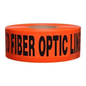 "Dottie DU10 3"" x 1000' Orange ""Buried Fiber Optic Line Below"" Detectable Barricade Tape"