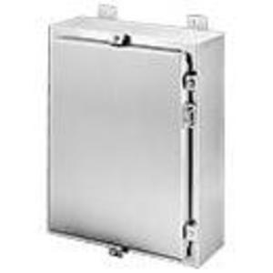 "Hoffman A20H1608SS6LP Enclosure, NEMA 4X, Continuous Hinge With Clamps, 20"" x 16"" x 6"""