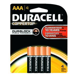 Duracell QU2400B4 Battery, 1.5V, AAA, Alkaline