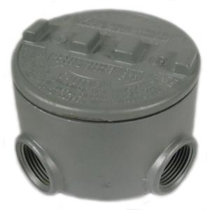 """Appleton GRU50-A Conduit Outlet Box, Type GRU, (5) 1/2"""" Hubs, Aluminum"""