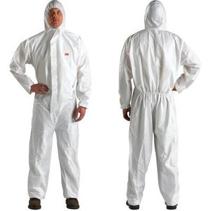 3M 4510-L Disposable Protective Coverall Safety Work Wear, White, Large