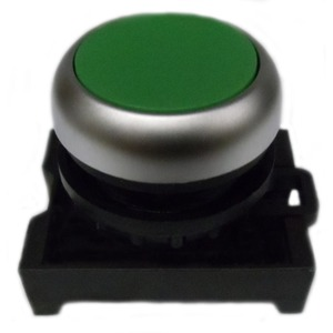 Eaton M22-D-G Pushbutton, Flush, Green, M22, Operator Only, Non-Metallic
