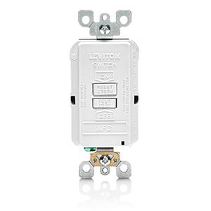 Leviton AFRBF-W Arc Fault Cicuit Interruptors, 20A, 125V, White