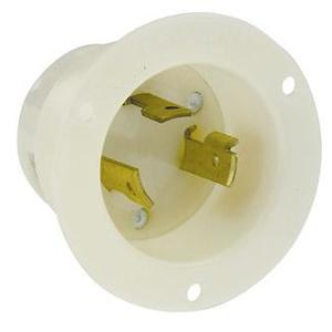 Leviton 2645 Locking Flanged Inlet, 30A, 480V, L8-30P, 2P3W, White