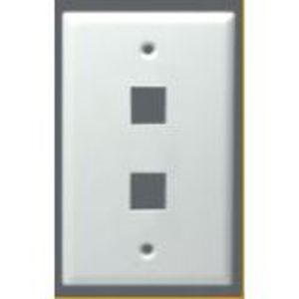 DataComm Electronics 20-3012-WH Module Faceplate, 2-Port, 1-Gang, White, Midi, Vertical