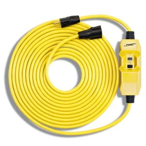 Technology Research 26020-002 GFCI In-Line Cord Set, 14/3, Yellow, NEMA 5-15, 2' Long