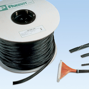 "Panduit SE150P-LR0 Braided Expandable Sleeving, 1-1/2"", Black, Polyethylene"