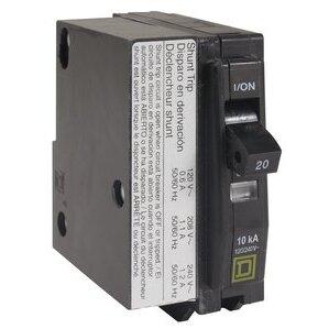 Square D QO1201021 Breaker, 1P, 20A, 120/240VAC, 10kAIC, Plug-In, Shunt Trip