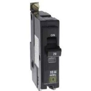 Square D QOB220GFI Breaker, Bolt-On, GFCI, 20A, 2P, 120/240VAC, QOB Type, 10 kAIC, 6mA
