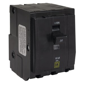 Square D QO310 Breaker, QO Type, 10A, 3P, 120/240VAC, 10kAIC, Stab On