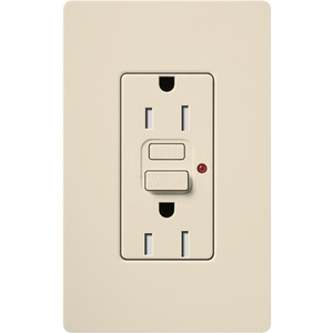 Lutron CAR-15-GFTR-LA 15 Amp, 125 Volt NEMA 5-15R GFCI, Light Almond
