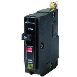 Square D QOB120GFI Breaker, Bolt-On, GFCI, 20A, 1P, 120VAC, QOB Type, 10 kAIC, 6mA