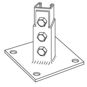 """Kindorf B-924 Post Base Connector, For 1-1/2"""" x 1-1/2"""" Channel, Steel/Galvanized"""