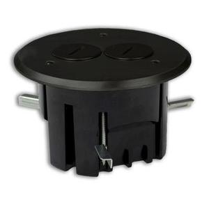 Allied Moulded FB-3DB Floor Box Assembly, Includes Duplex Receptacle, Metallic Floor Plate