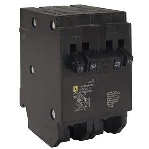 Square D HOMT1515215 Breaker, 15/15A, 2P, 120V, 10 kAIC, HomeLine Twin CB
