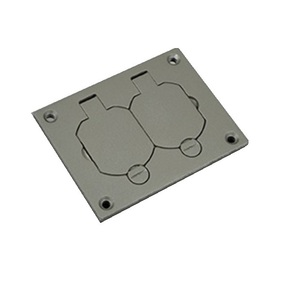 Wiremold 828R-TCAL-GY Floor Box Cover, 1-Gang, Metallic, Device Type: Duplex Receptacle