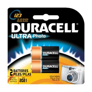 Duracell DL123AB2PK Battery, 3V, 123, Lithium, Photo