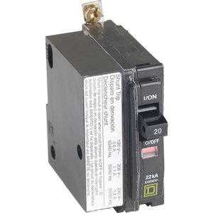 Square D QOB120VH1021 Breaker, Bolt-On, 20A, 1P, 120/240VAC, QOB Type, 22 kAIC, Shunt Trip