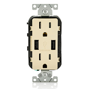 Leviton T5632-I Combination USB Charger / Decora Duplex Receptacle, 15A, 125V, Ivory