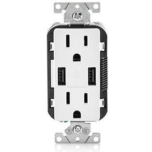 Leviton T5632-W Combination USB Charger / Decora Duplex Receptacle, 15A, 125V, White