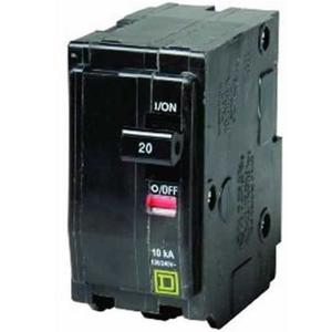 Square D QO220 Breaker, QO Type, 20A, 2P, 120/240VAC, 10kAIC, Stab On