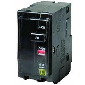 Square D QO215 Breaker, QO Type, 15A, 2P, 120/240VAC, 10kAIC, Stab On