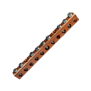 "Burndy K8P4CG1 Neutral Bar, Copper, 4.37"" Long, 14 - 4 AWG"