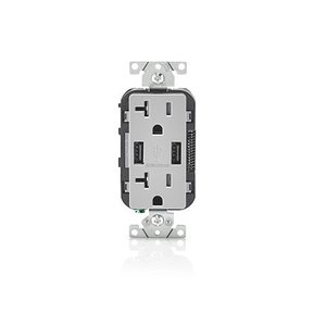 Leviton T5832-GY USB Charger / Decora Duplex Receptacle, 20A, 125V, Gray