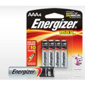 Energizer E92BP-4 Battery, Alkaline, AAA, 1.5V, 4 Pack