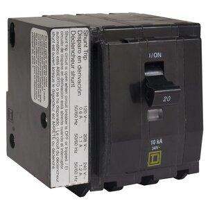 Square D QO3501021 Breaker, 3P, 50A, 120/240VAC, 10kAIC, Plug-In, Shunt Trip