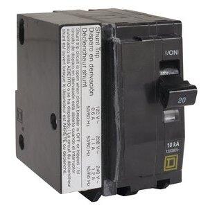Square D QO2201021 Breaker, 2P, 20A, 120/240VAC, 10kAIC, Plug-In, Shunt Trip