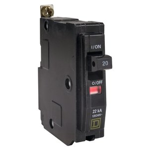 Square D QOB120VH Breaker, Bolt-On, 20A, 1P, 120/240V, QOB-VH Type, 22 kAIC