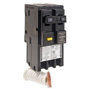 Square D HOM220GFI Breaker, GFCI, 2P, 20A, 120/240VAC, 10 kAIC