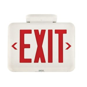 Hubbell-Dual-Lite EVEURWE LED Exit Sign, Universal Face, Red Letters