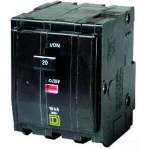 Square D QO320 Breaker, QO Type, 20A, 3P, 120/240VAC, 10kAIC, Stab On