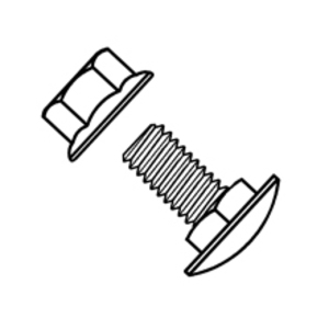 "Eaton B-Line SNCB3/8X3/4-SS6 Square Neck Carriage Bolt, 3/8"" x 3/4"", Stainless Steel"