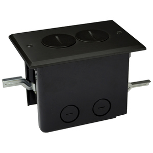 Allied Moulded FB-2DB Floor Box Assembly, Includes Duplex Receptacle, Bronze Floor Plate