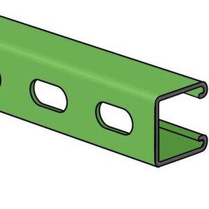 "Power-Strut PS200EH-10GR Channel - Elongated Holes, Steel, Green, 1-5/8"" x 1-5/8"" x 10'"